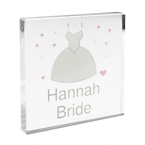Personalised Wedding Dress Small Crystal Token